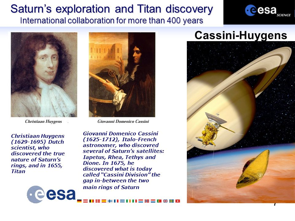 7 Christiaan Huygens (1629-1695) Dutch scientist, who discovered the true nature of Saturn's rings, and in 1655, Titan Giovanni Domenico Cassini (1625-1712), Italo-French astronomer, who discovred several of Saturn's satellites: Iapetus, Rhea, Tethys and Dione.