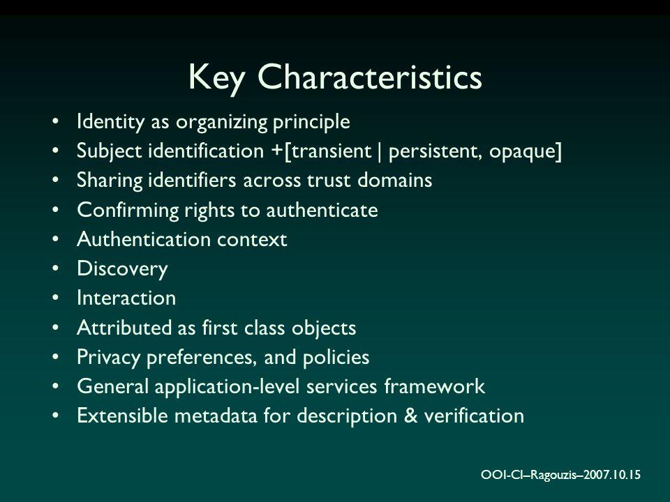 OOI-CI–Ragouzis–2007.10.15 Key Characteristics Identity as organizing principle Subject identification +[transient | persistent, opaque] Sharing ident