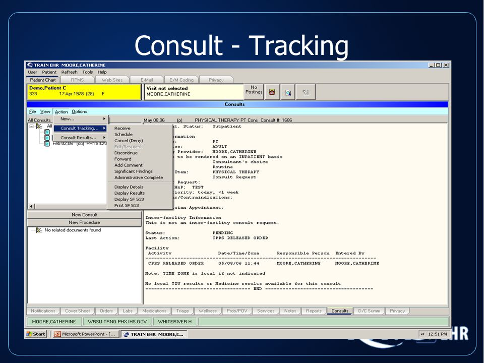 Consult - Tracking Options