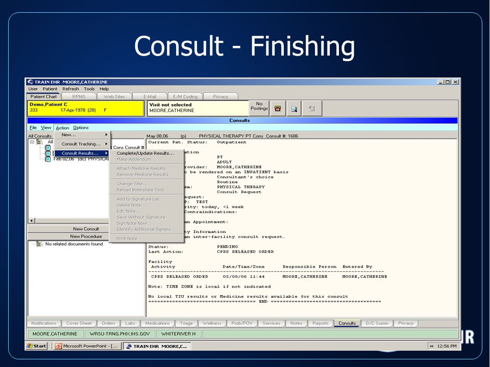 Consult - Finishing Results