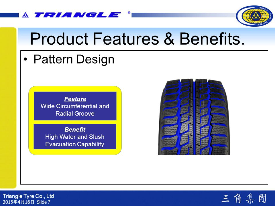 Triangle Tyre Co., Ltd 2015年4月16日 2015年4月16日 2015年4月16日 2015年4月16日 2015年4月16日 2015年4月16日 Slide 7 Pattern Design Feature Wide Circumferential and Radia