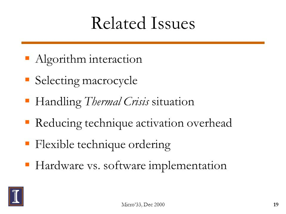 Micro'33, Dec Related Issues  Algorithm interaction  Selecting macrocycle  Handling Thermal Crisis situation  Reducing technique activation overhead  Flexible technique ordering  Hardware vs.