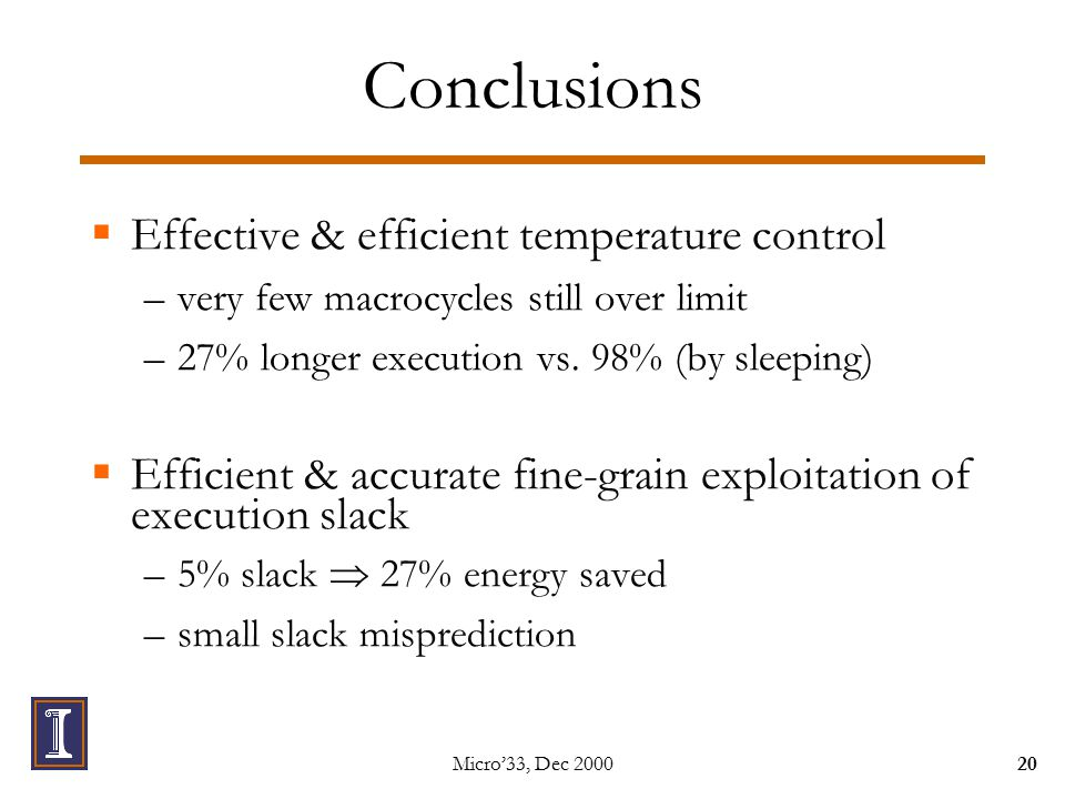 Micro'33, Dec Conclusions  Effective & efficient temperature control –very few macrocycles still over limit –27% longer execution vs.