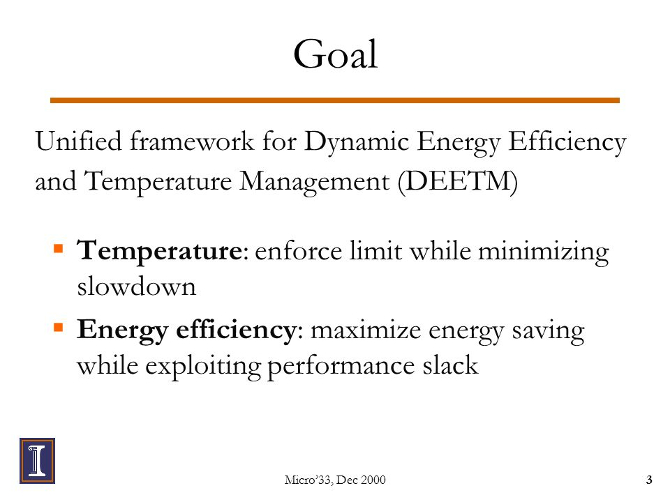 Micro'33, Dec Goal  Temperature: enforce limit while minimizing slowdown  Energy efficiency: maximize energy saving while exploiting performance slack Unified framework for Dynamic Energy Efficiency and Temperature Management (DEETM)