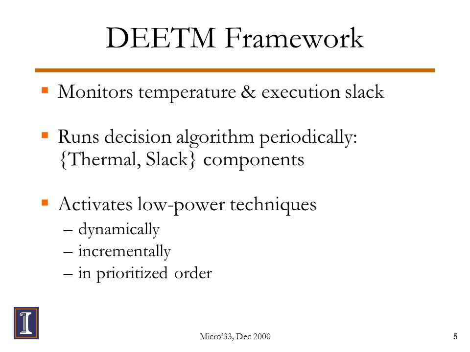 Micro'33, Dec 20005 DEETM Framework  Monitors temperature & execution slack  Runs decision algorithm periodically: {Thermal, Slack} components  Activates low-power techniques –dynamically –incrementally –in prioritized order