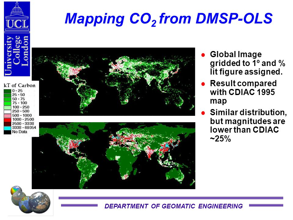 DEPARTMENT OF GEOMATIC ENGINEERING Mapping CO 2 from DMSP-OLS Global Image gridded to 1º and % lit figure assigned.
