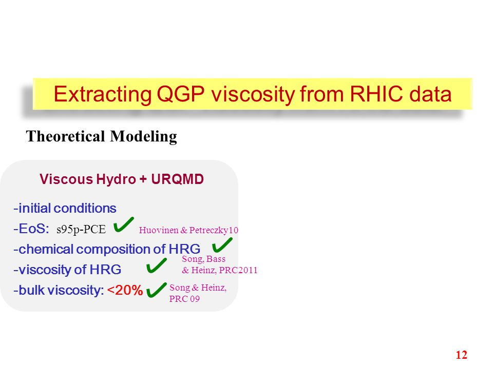 -initial conditions -EoS: s95p-PCE Huovinen & Petreczky10 -chemical composition of HRG -viscosity of HRG -bulk viscosity: <20% Viscous Hydro + URQMD Extracting QGP viscosity from RHIC data Song & Heinz, PRC 09 Theoretical Modeling 12 Song, Bass & Heinz, PRC2011