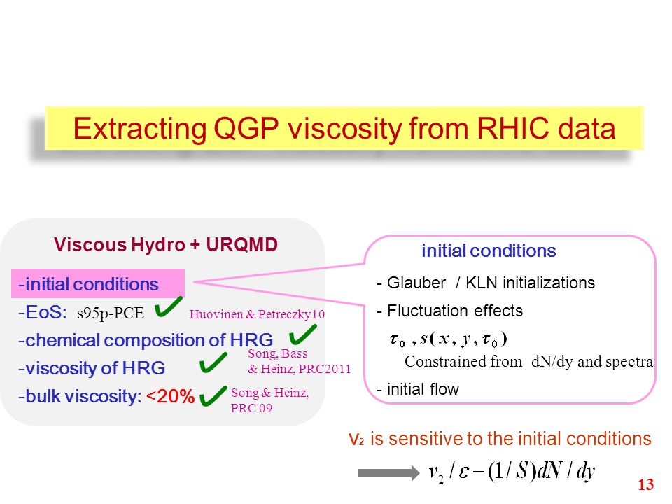 -initial conditions -chemical composition of HRG -viscosity of HRG -bulk viscosity: <20% Viscous Hydro + URQMD initial conditions - Glauber / KLN initializations - Fluctuation effects Constrained from dN/dy and spectra - initial flow v 2 is sensitive to the initial conditions -EoS: s95p-PCE Huovinen & Petreczky10 Extracting QGP viscosity from RHIC data Song & Heinz, PRC 09 13 Song, Bass & Heinz, PRC2011
