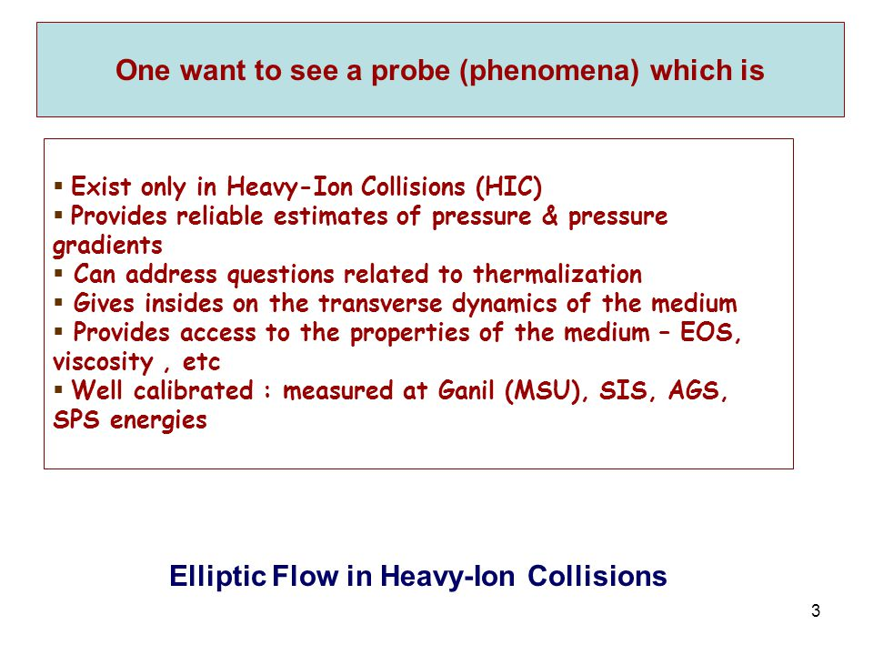 R. Lacey, SUNY Stony Brook 3 One want to see a probe (phenomena) which is  Exist only in Heavy-Ion Collisions (HIC)  Provides reliable estimates of