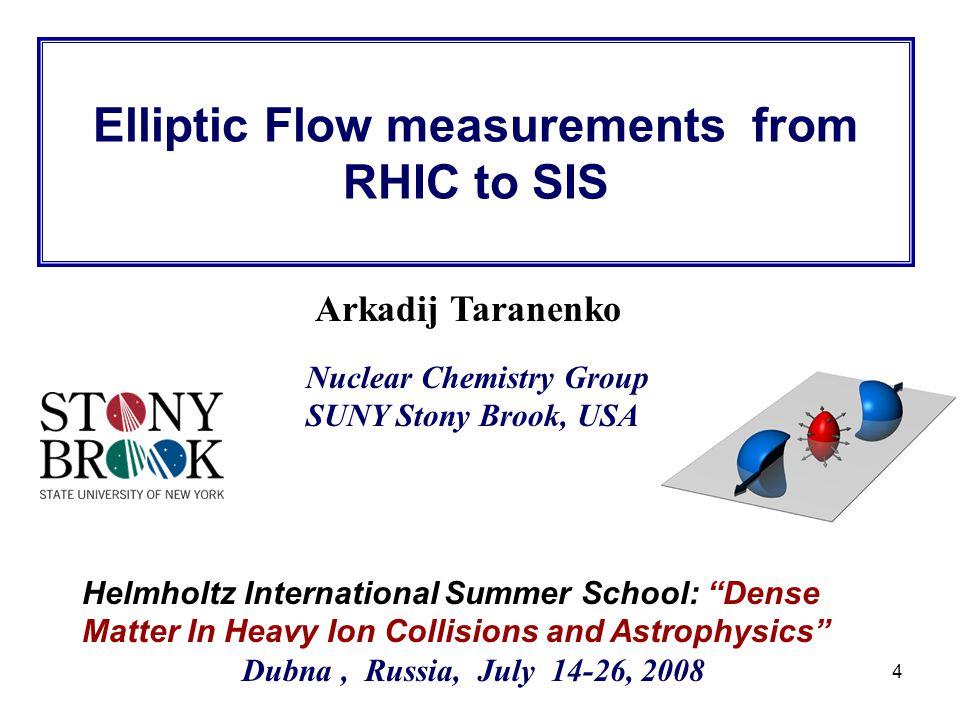 "R. Lacey, SUNY Stony Brook 4 Arkadij Taranenko Helmholtz International Summer School: ""Dense Matter In Heavy Ion Collisions and Astrophysics"" Dubna, R"
