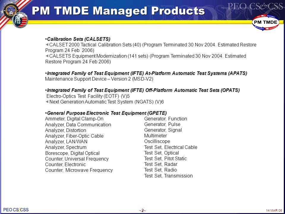 14 MAR 06 ~2~ PM TMDE Managed Products Calibration Sets (CALSETS)Calibration Sets (CALSETS)  CALSET 2000 Tactical Calibration Sets (40) (Program Term
