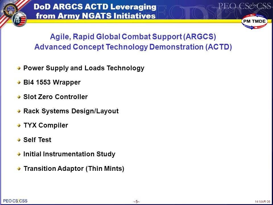 14 MAR 06 ~5~ DoD ARGCS ACTD Leveraging from Army NGATS Initiatives Power Supply and Loads Technology Bi4 1553 Wrapper Slot Zero Controller Rack Syste