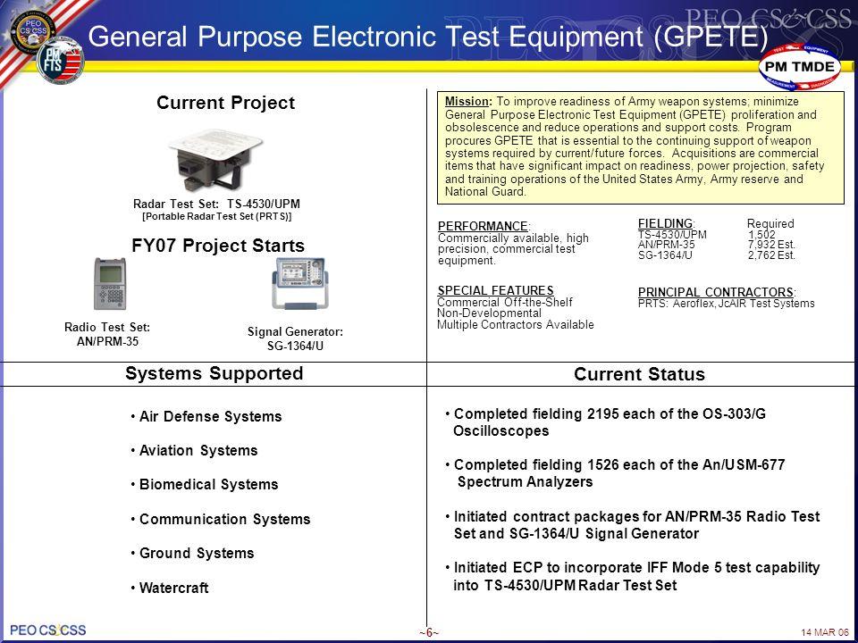 14 MAR 06 ~6~ General Purpose Electronic Test Equipment (GPETE) Radar Test Set: TS-4530/UPM [Portable Radar Test Set (PRTS)] Current Project Radio Tes