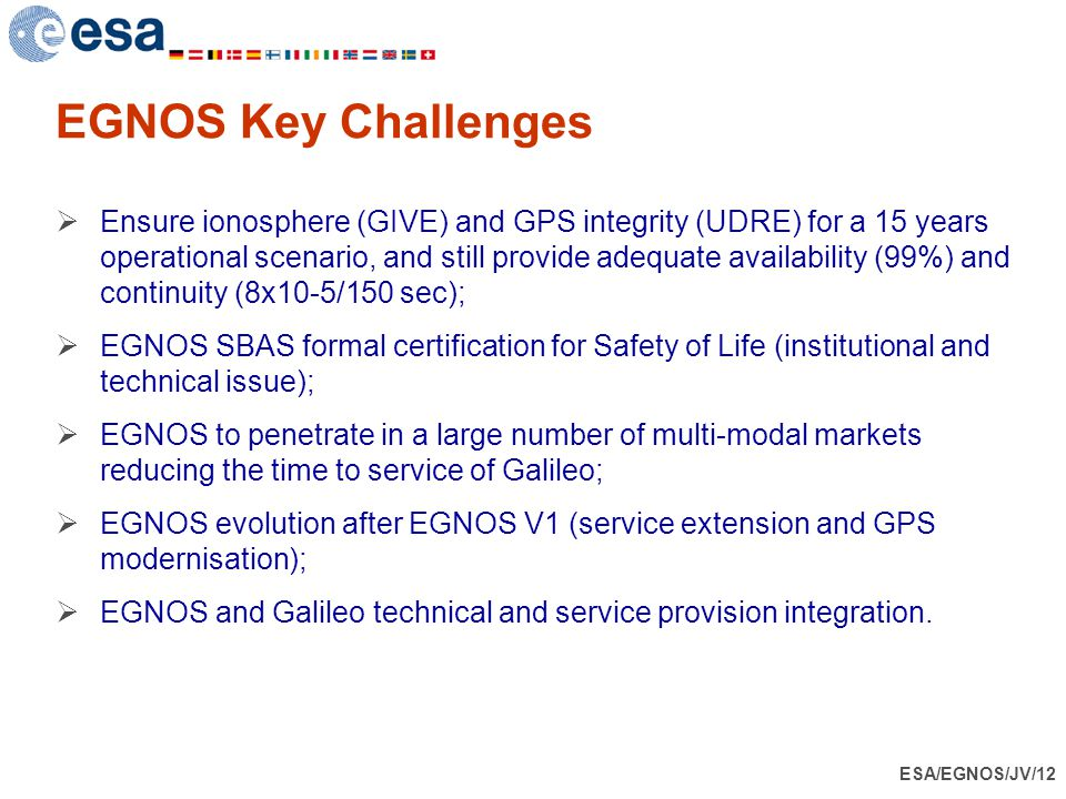ESA/EGNOS/JV/12 EGNOS Key Challenges  Ensure ionosphere (GIVE) and GPS integrity (UDRE) for a 15 years operational scenario, and still provide adequa