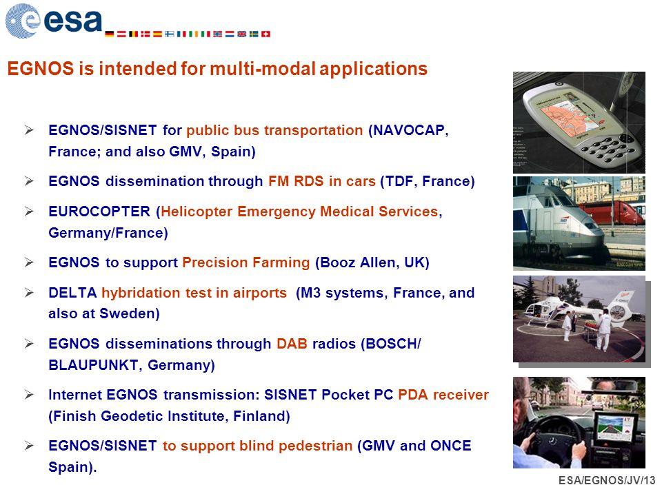 ESA/EGNOS/JV/13 EGNOS is intended for multi-modal applications  EGNOS/SISNET for public bus transportation (NAVOCAP, France; and also GMV, Spain)  E