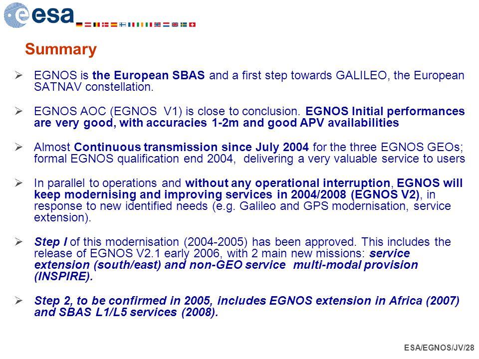 ESA/EGNOS/JV/28 Summary  EGNOS is the European SBAS and a first step towards GALILEO, the European SATNAV constellation.  EGNOS AOC (EGNOS V1) is cl