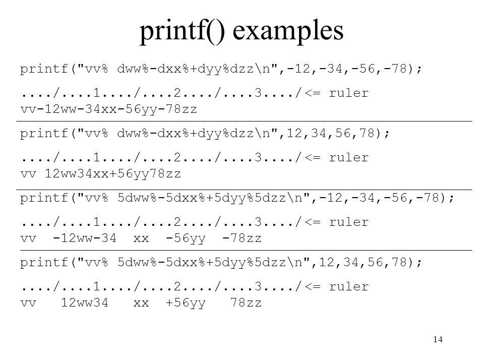 14 printf() examples printf(