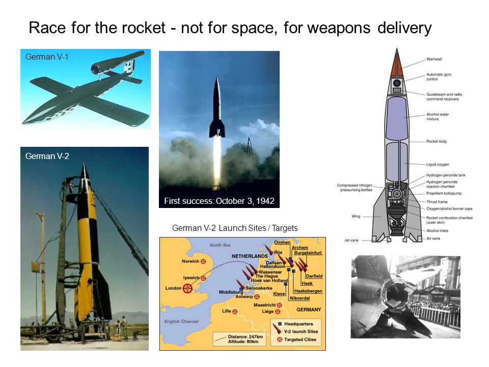 The V-2 rocket (German: Vergeltungswaffe 2, retaliation weapon), technical name A4, was a long range ballistic missile that was developed by the end of the Second World War in Nazi Germany.