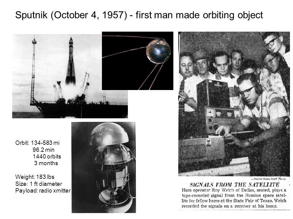 Sputnik (October 4, 1957) - first man made orbiting object Orbit: 134-583 mi 96.2 min 1440 orbits 3 months Weight: 183 lbs Size: 1 ft diameter Payload: radio xmitter