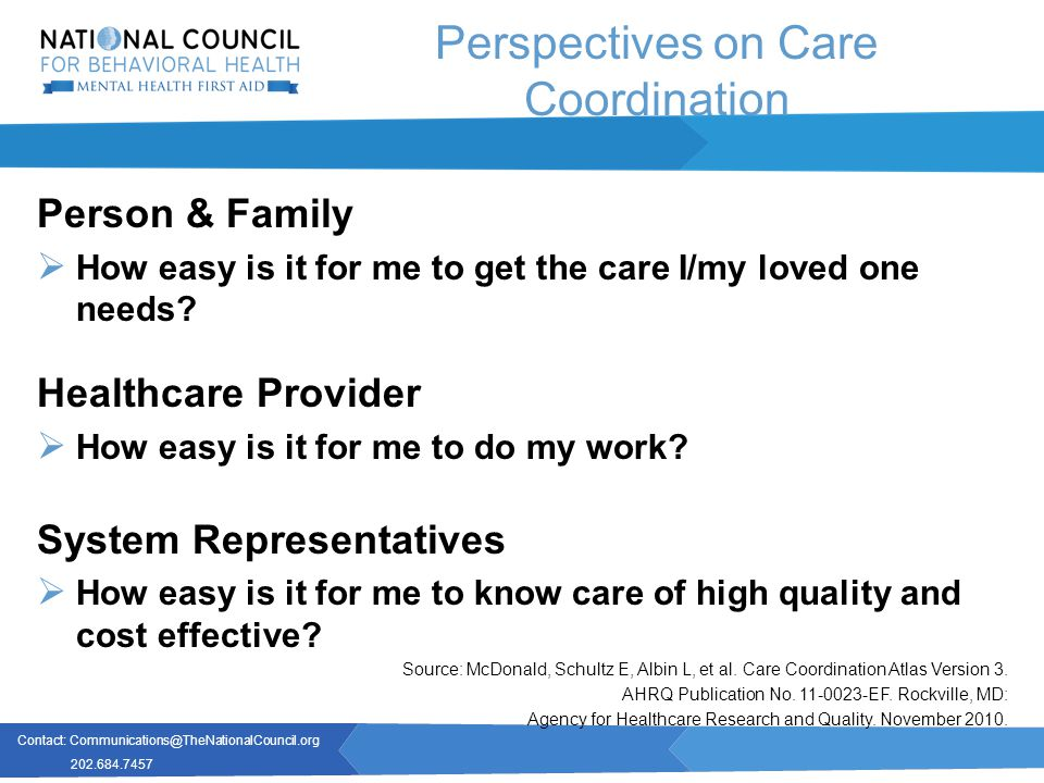 Contact: Communications@TheNationalCouncil.org 202.684.7457 Perspectives on Care Coordination Person & Family  How easy is it for me to get the care I/my loved one needs.