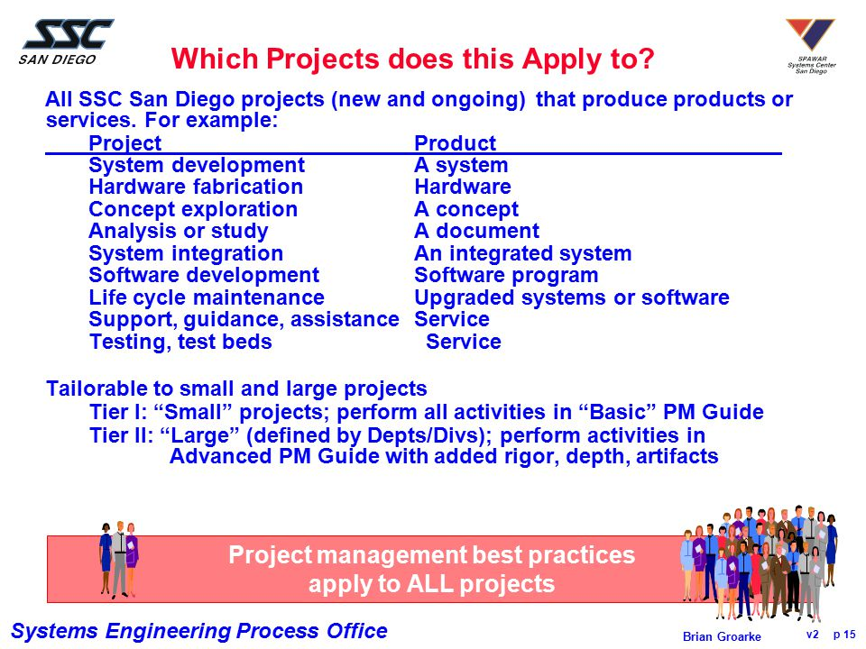Systems Engineering Process Office v2 p 15 Brian Groarke Which Projects does this Apply to? All SSC San Diego projects (new and ongoing) that produce