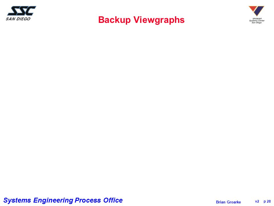 Systems Engineering Process Office v2 p 28 Brian Groarke Backup Viewgraphs