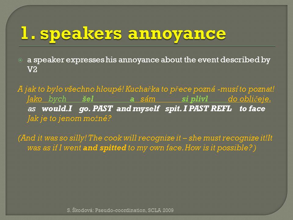  a speaker expresses his annoyance about the event described by V2 A jak to bylo všechno hloupé.