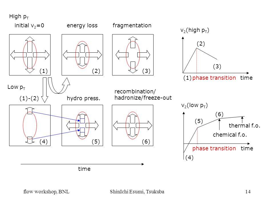 flow workshop, BNLShinIchi Esumi, Tsukuba14 High p T initial v 2 =0energy lossfragmentation Low p T (1) (2)(3) (4) (1)-(2)hydro press.