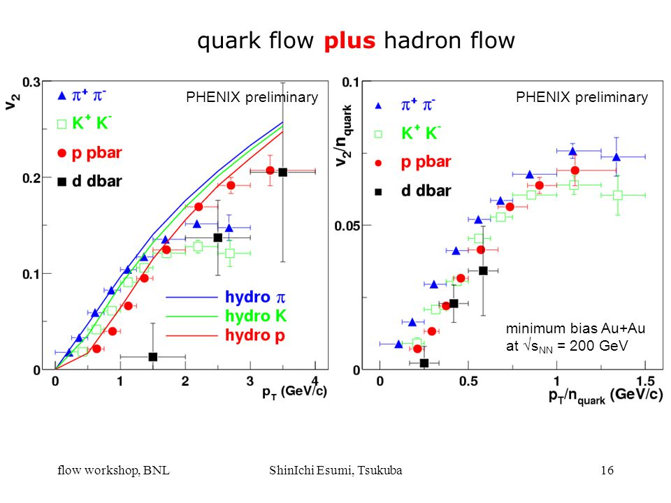 flow workshop, BNLShinIchi Esumi, Tsukuba16 quark flow plus hadron flow minimum bias Au+Au at  s NN = 200 GeV PHENIX preliminary