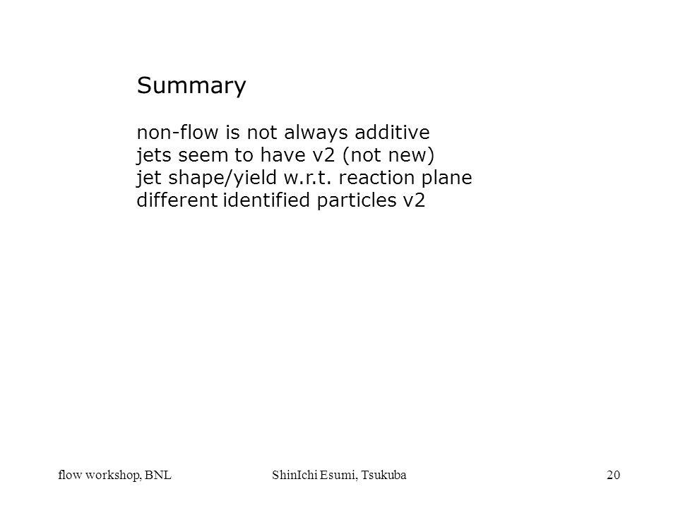 flow workshop, BNLShinIchi Esumi, Tsukuba20 Summary non-flow is not always additive jets seem to have v2 (not new) jet shape/yield w.r.t. reaction pla