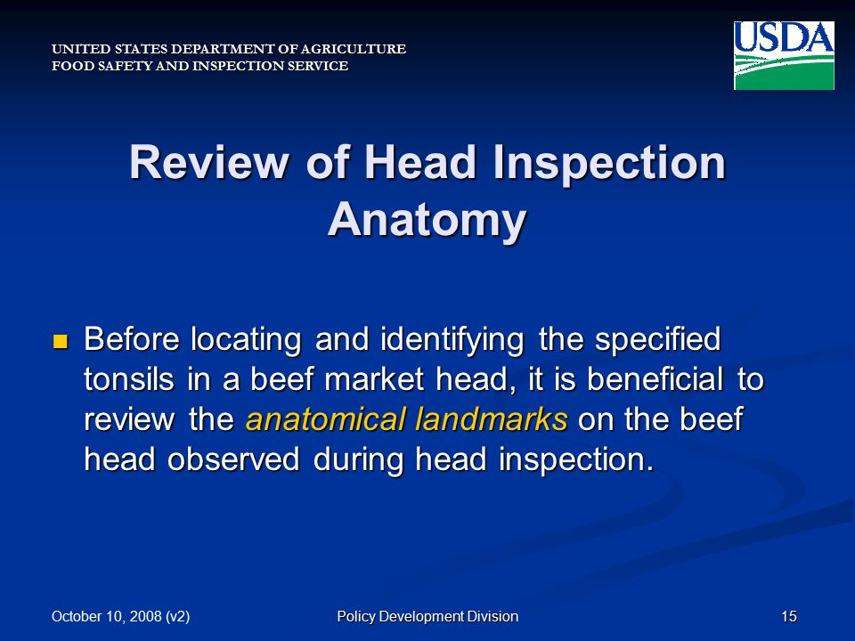 UNITED STATES DEPARTMENT OF AGRICULTURE FOOD SAFETY AND INSPECTION SERVICE October 10, 2008 (v2)15Policy Development Division Review of Head Inspection Anatomy Before locating and identifying the specified tonsils in a beef market head, it is beneficial to review the anatomical landmarks on the beef head observed during head inspection.
