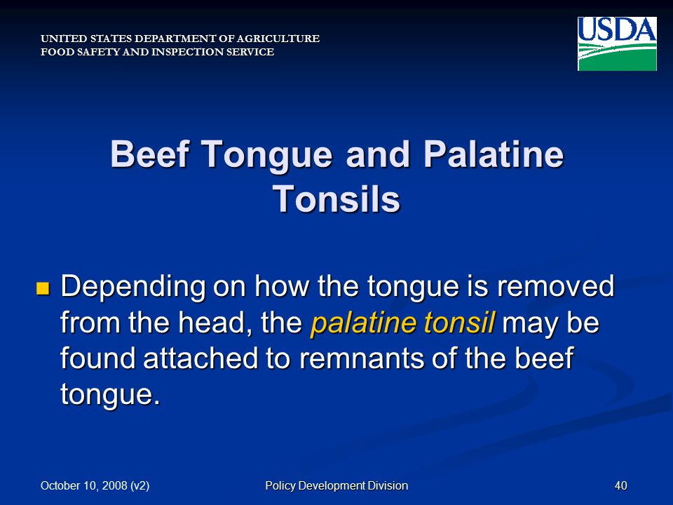 UNITED STATES DEPARTMENT OF AGRICULTURE FOOD SAFETY AND INSPECTION SERVICE October 10, 2008 (v2)40Policy Development Division Beef Tongue and Palatine Tonsils Depending on how the tongue is removed from the head, the palatine tonsil may be found attached to remnants of the beef tongue.