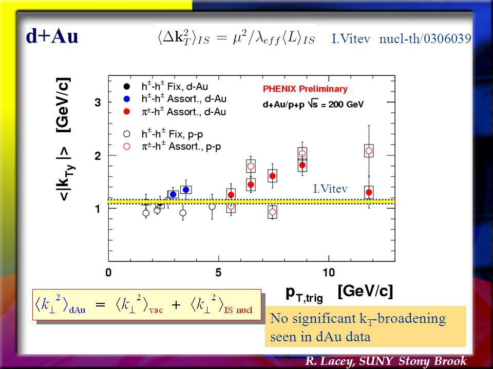 R. Lacey, SUNY Stony Brook d+Au No significant k T -broadening seen in dAu data I.Vitev I.Vitev nucl-th/0306039