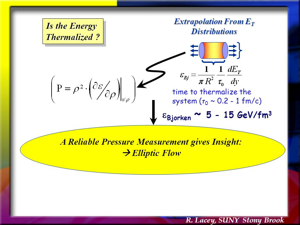 R. Lacey, SUNY Stony Brook time to thermalize the system (  0 ~ 0.2 - 1 fm/c)  Bjorken  ~ 5 - 15 GeV/fm 3 Extrapolation From E T Distributions Is