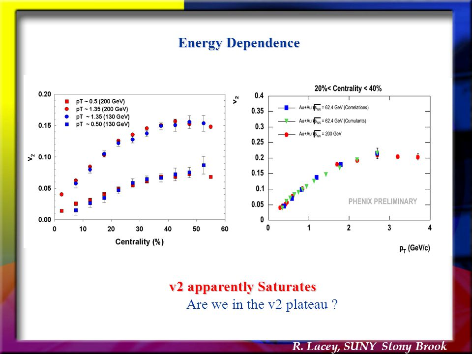R. Lacey, SUNY Stony Brook v2 apparently Saturates Are we in the v2 plateau ? Energy Dependence