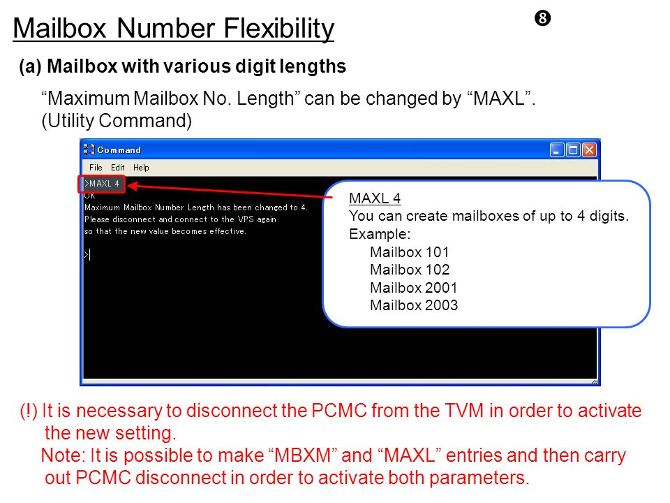 Mailbox Number Flexibility (a) Mailbox with various digit lengths Maximum Mailbox No.