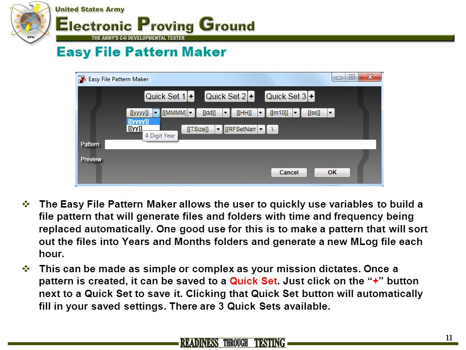 Easy File Pattern Maker  The Easy File Pattern Maker allows the user to quickly use variables to build a file pattern that will generate files and fo
