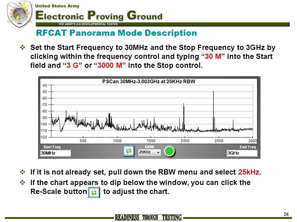 RFCAT Panorama Mode Description  Set the Start Frequency to 30MHz and the Stop Frequency to 3GHz by clicking within the frequency control and typing 30 M into the Start field and 3 G or 3000 M into the Stop control.