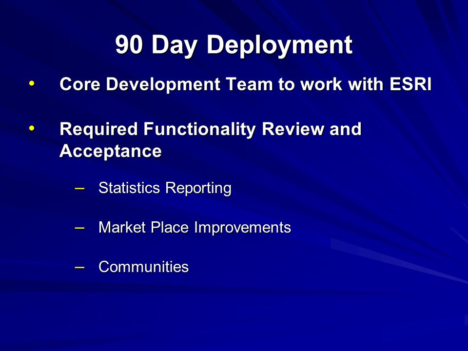 90 Day Deployment Core Development Team to work with ESRI Core Development Team to work with ESRI Required Functionality Review and Acceptance Required Functionality Review and Acceptance – Statistics Reporting – Market Place Improvements – Communities