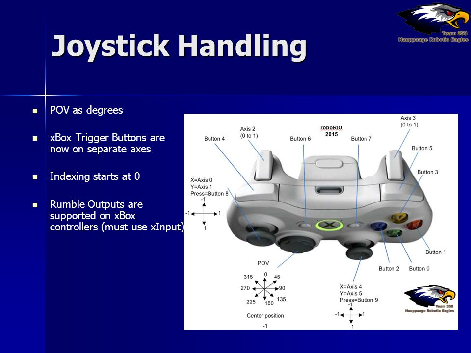 Joystick Handling POV as degrees xBox Trigger Buttons are now on separate axes Indexing starts at 0 Rumble Outputs are supported on xBox controllers (