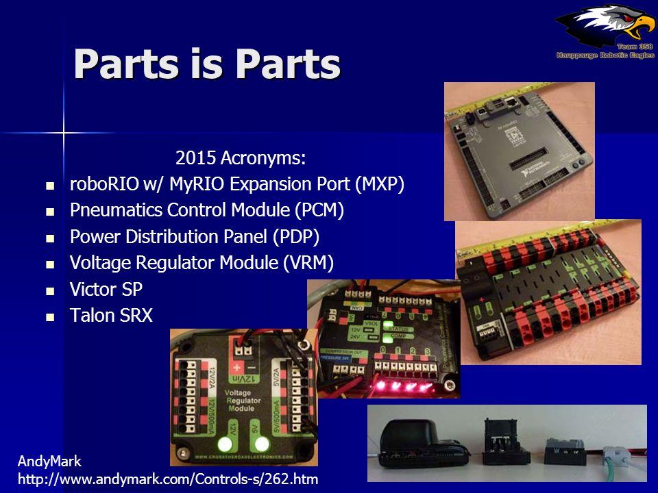 Parts is Parts 2015 Acronyms: roboRIO w/ MyRIO Expansion Port (MXP) Pneumatics Control Module (PCM) Power Distribution Panel (PDP) Voltage Regulator M