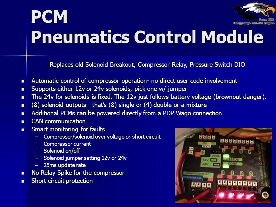 PCM Pneumatics Control Module Replaces old Solenoid Breakout, Compressor Relay, Pressure Switch DIO Automatic control of compressor operation- no dire