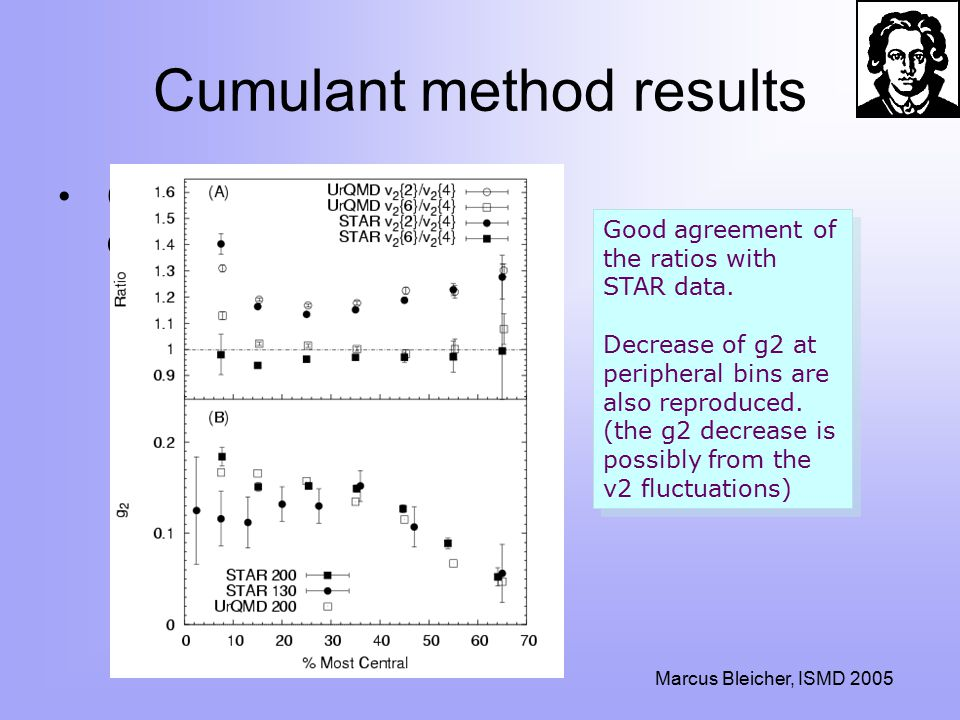 Marcus Bleicher, ISMD 2005 Cumulant method results Comparison to STAR data Good agreement of the ratios with STAR data.