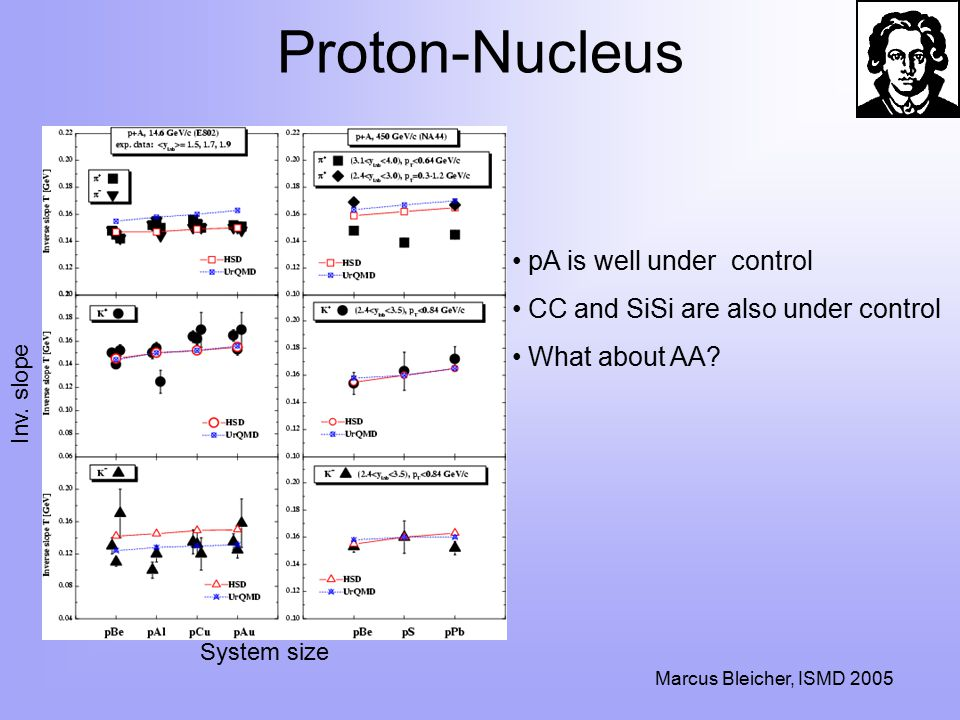 Marcus Bleicher, ISMD 2005 Proton-Nucleus pA is well under control CC and SiSi are also under control What about AA.