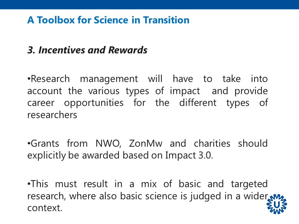 A Toolbox for Science in Transition 3.
