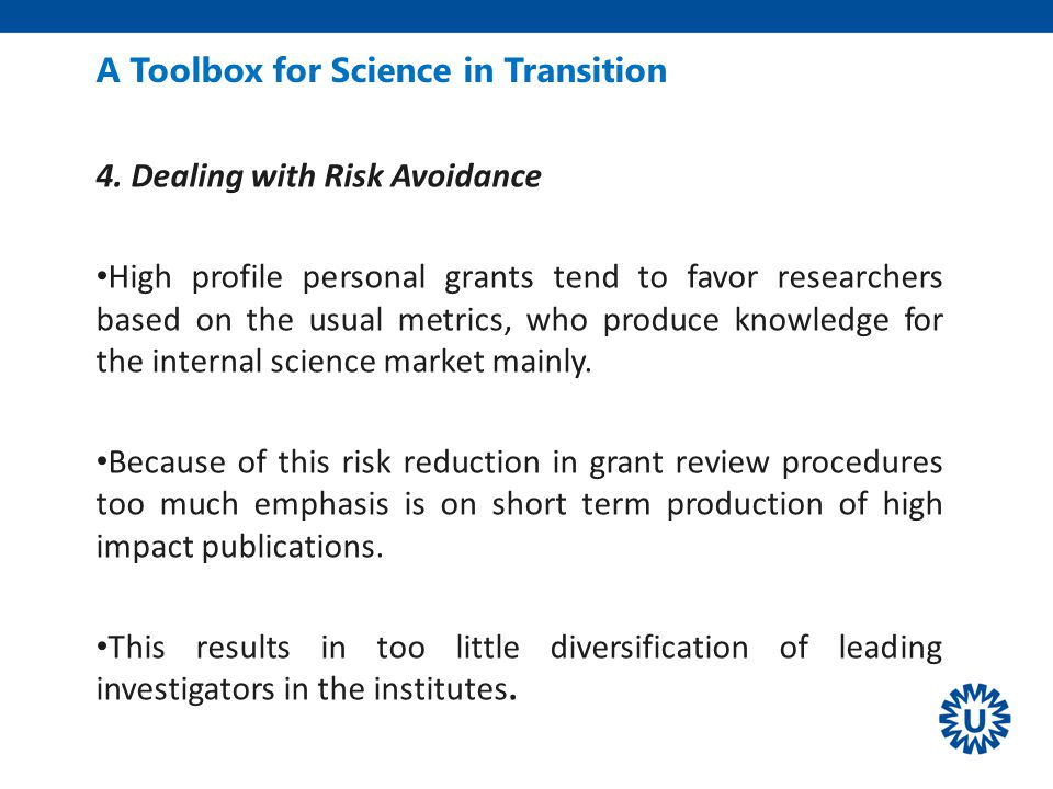 A Toolbox for Science in Transition 4.