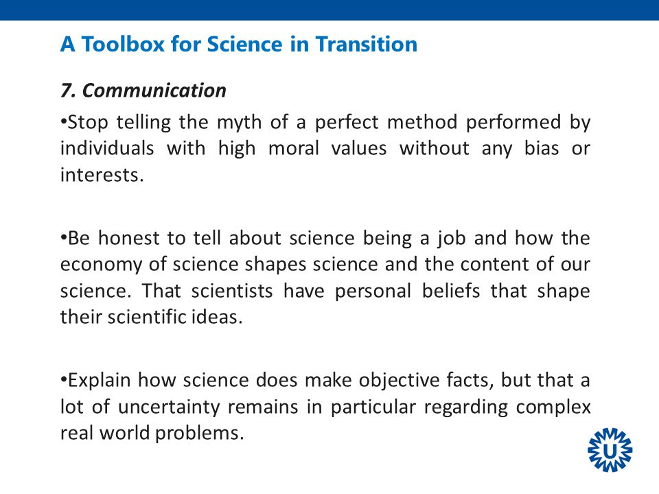 A Toolbox for Science in Transition 7.
