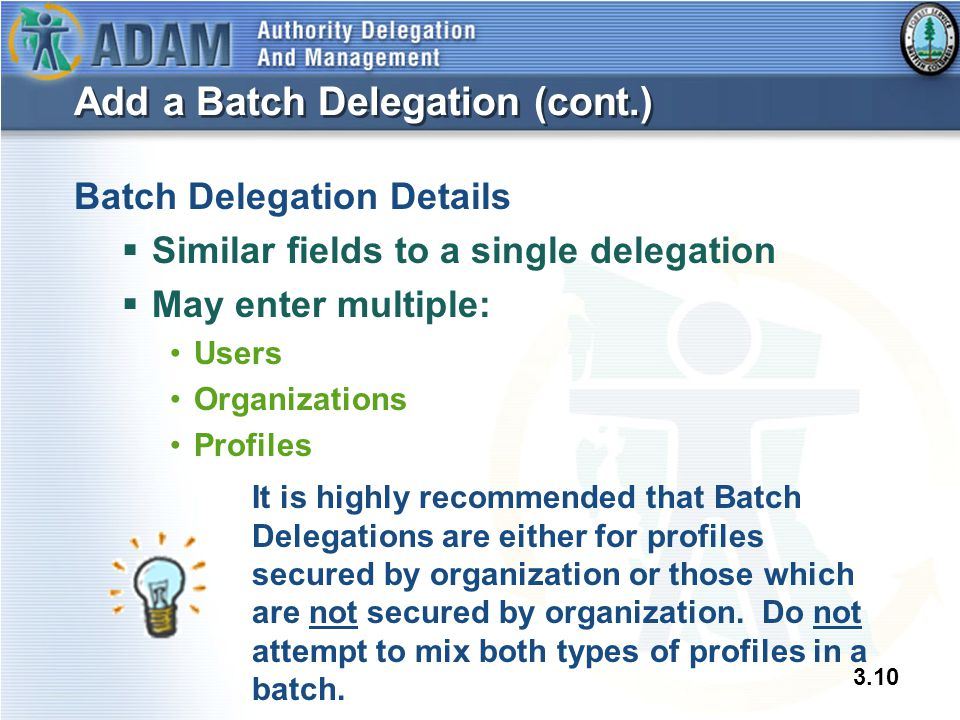 3.10 Add a Batch Delegation (cont.) Batch Delegation Details  Similar fields to a single delegation  May enter multiple: Users Organizations Profile