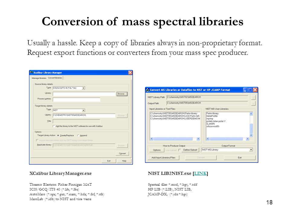 18 Conversion of mass spectral libraries Usually a hassle.