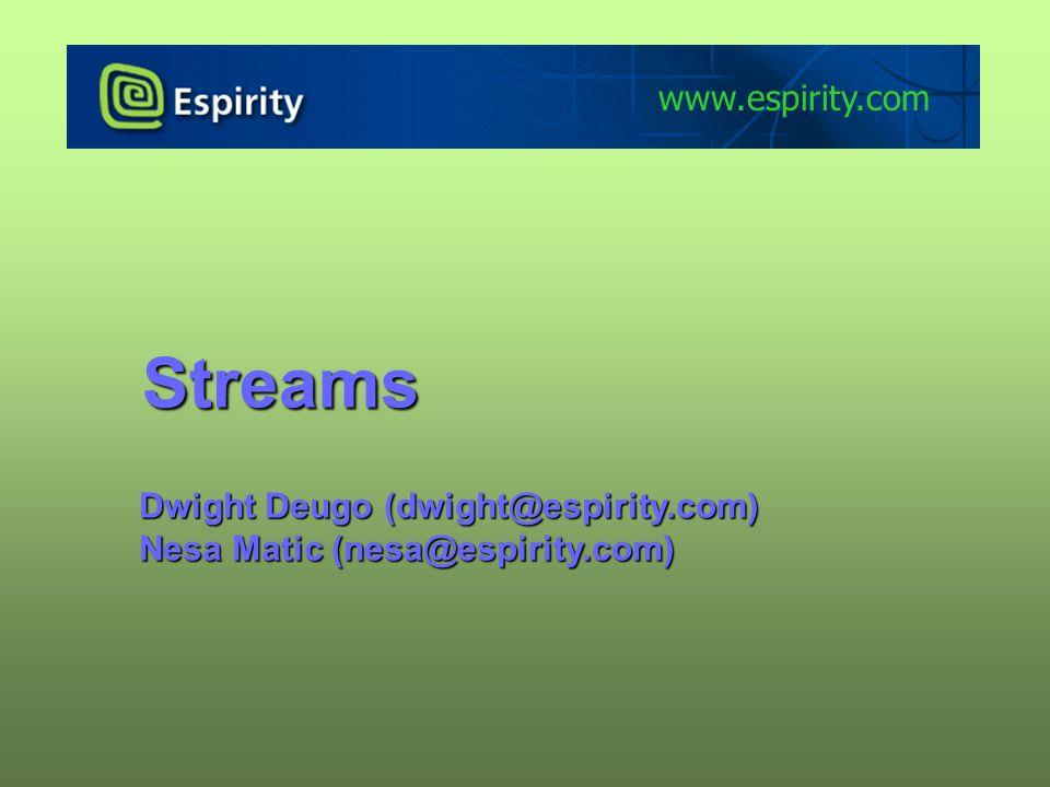 Streams Dwight Deugo (dwight@espirity.com) Nesa Matic (nesa@espirity.com) www.espirity.com
